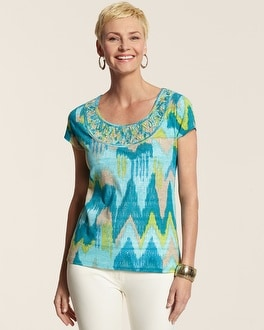 Bay Breeze Embellished Neck Top
