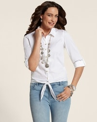 Cotton Cutwork Tie Shirt