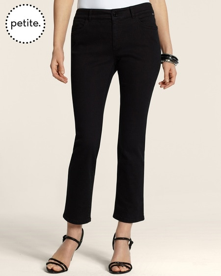Petite So Slimming By Chico's Pocket Details Crop in Black