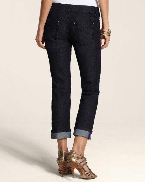 Platinum Denim Fashion Cuff Crop in Dark Indigo