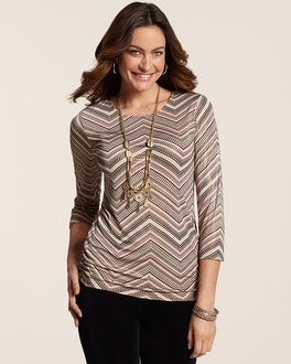 Travelers Classic Chevron Shimmer Ruched Raye Top