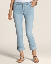 Platinum Denim Bleach Wash Wide Cuff Crop