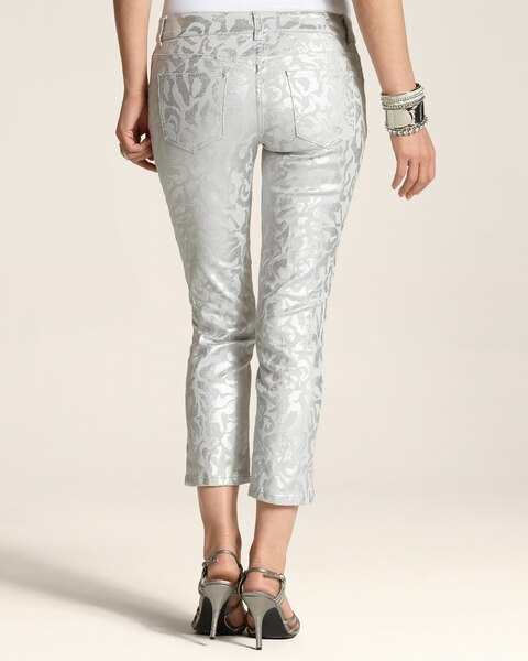 Platinum Denim Silver Cheetah Crop
