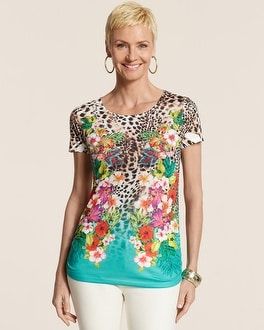 Tropical Leo Mirror Ruched Raye Top