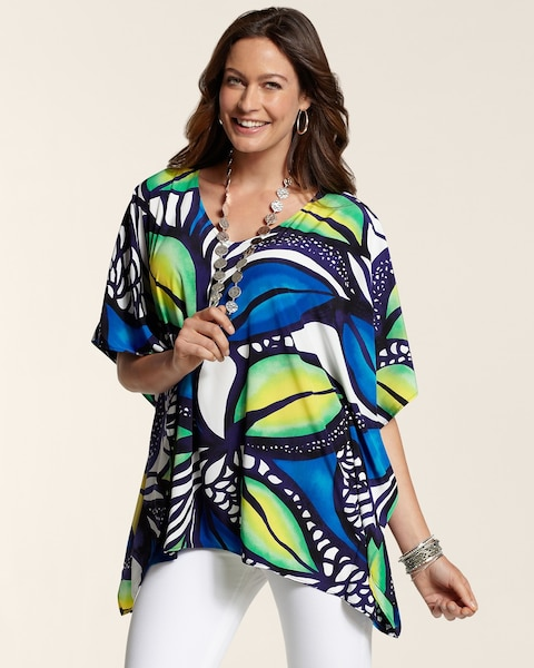 Oversized Tropical Peri Poncho