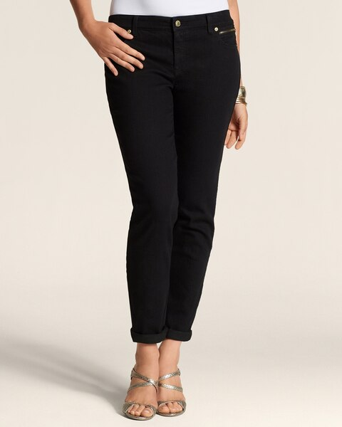 Zip Detail Ankle Jeans in Black