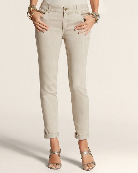 Zip Detail Ankle Jeans
