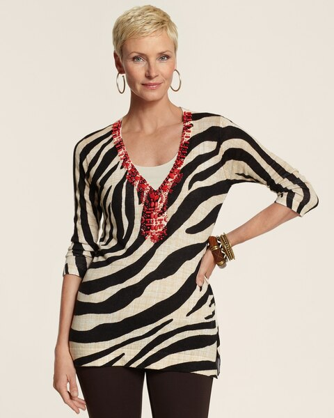 Zebra Jeweled Ruby Pullover