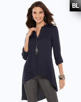 Black Label Asymmetrical Hem Blouse