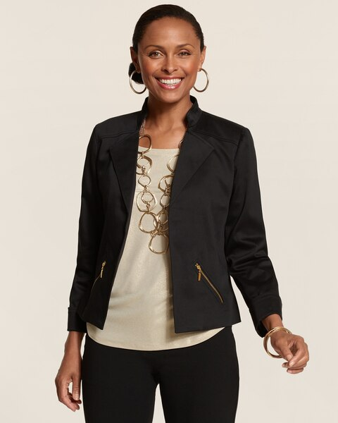 Cotton Sateen Moto Jacket