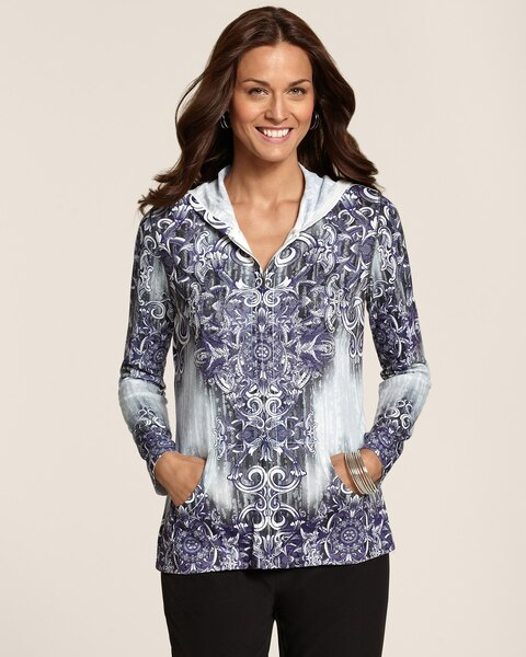 Loni Scroll Print Zip Jacket