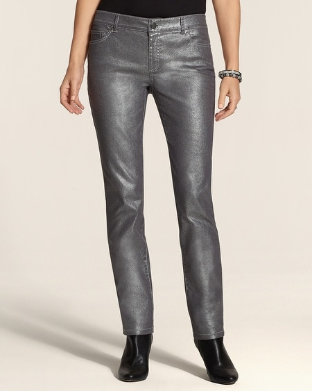 Platinum Denim Metallic Jeans