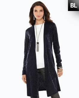 Black Label Sequin Duster Cardigan
