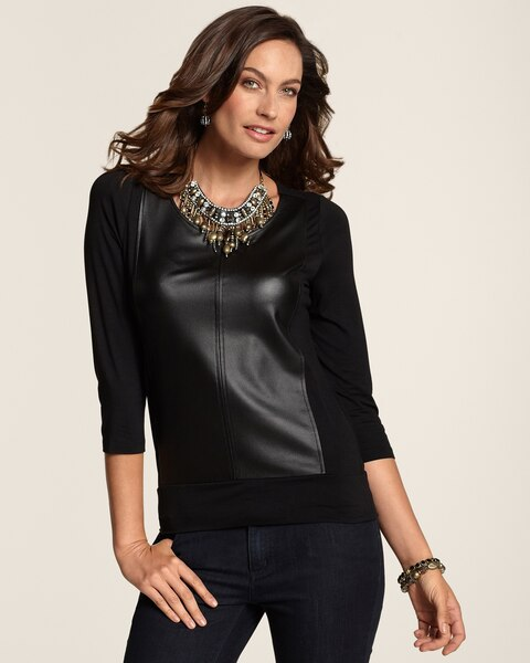 Faux-Leather Panel Top