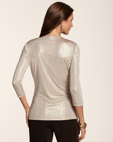 Animal Foil Surplice Top