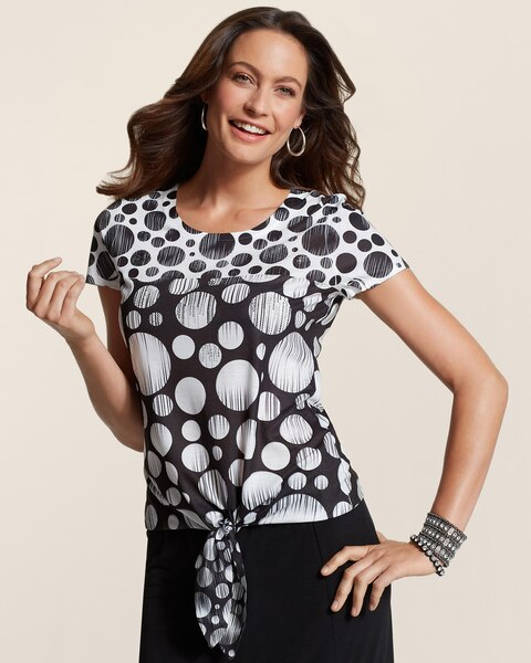 Black Dot In Motion Tie Front Top