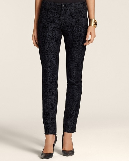 Platinum Denim Flocked Emblem Slim-Leg Jeans