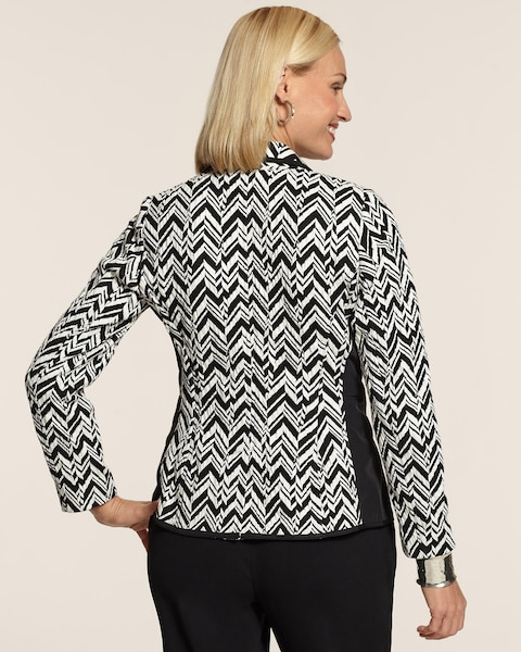 Pieced Knit Chevron Blazer