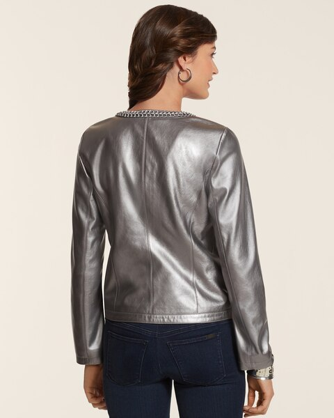 Faux-Leather Metallic Quilted Jacket