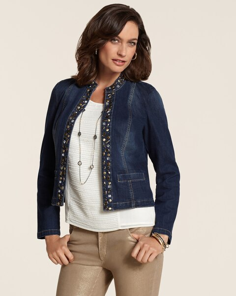 Mixed Metal Embellished Denim Jacket