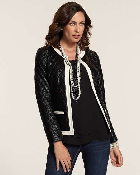 Quilted Contrast Faux-Leather Jacket