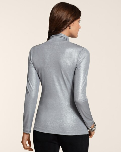 Liquid Shimmer Mock Neck Top