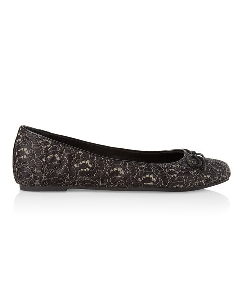 Black and Gold Lace Travel Ballet Flats