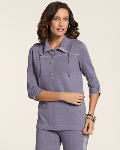 Cotton Cashmere Snap Mock