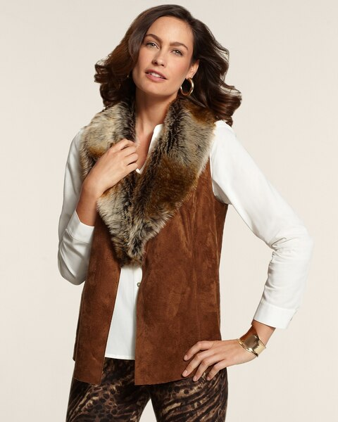 Faux-Fur Collar Vest