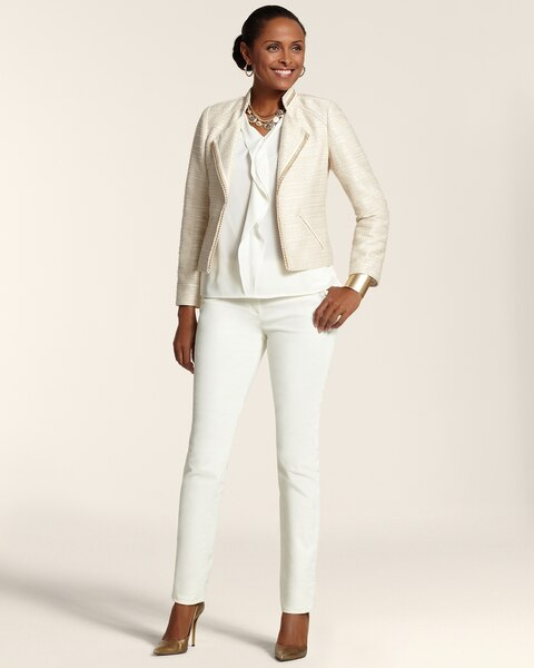 Neutral Zipper Tweed Moto Jacket