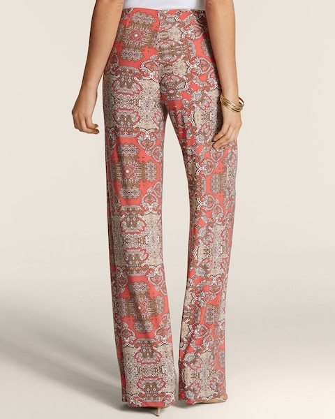 Mirrored Paisley Pull-On Palazzo Pants