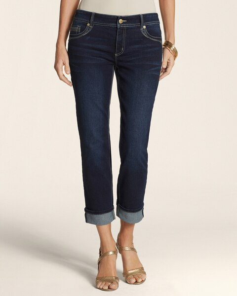 Wide Cuff Crop Jeans in Dark Tinted