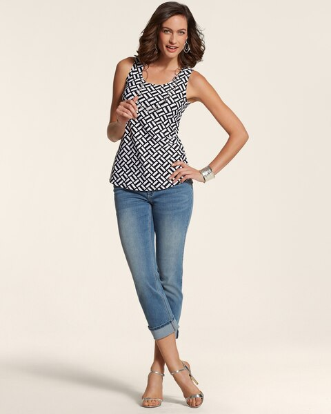Wide Cuff Crop Jeans in Perlita