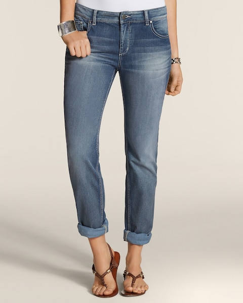 Platinum Denim Star Medium Wash Boyfriend Jeans