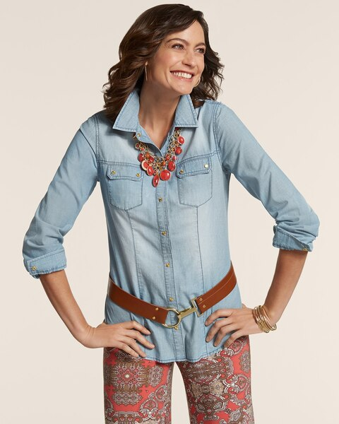 Gold Accents Denim Treasa Shirt