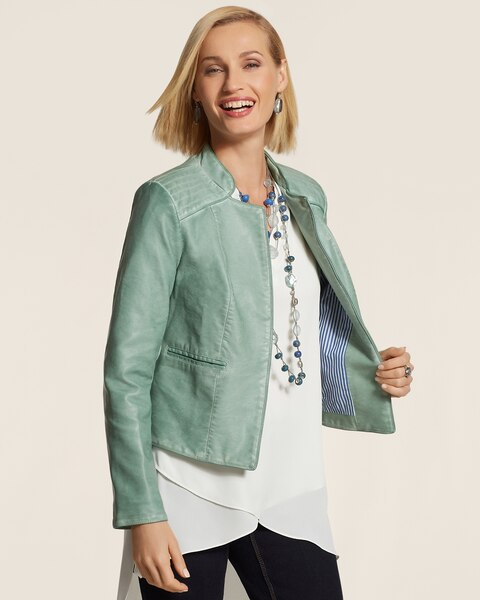 Mint Faux-Leather Jacket