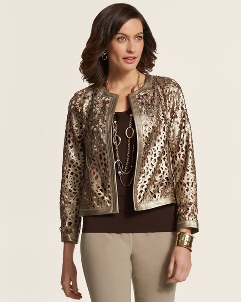 Faux-Leather Metallic Cutout Jacket
