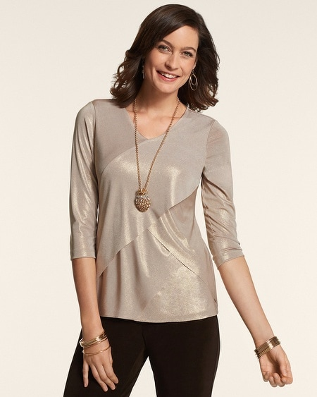 Liquid Shimmer Antique Gold Layered Top