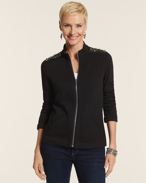 Embellished Quilt Zip Jacket
