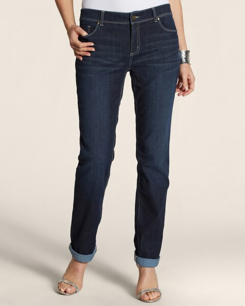 Platinum Denim Roll Cuff Ankle Jeans in Dark Tint