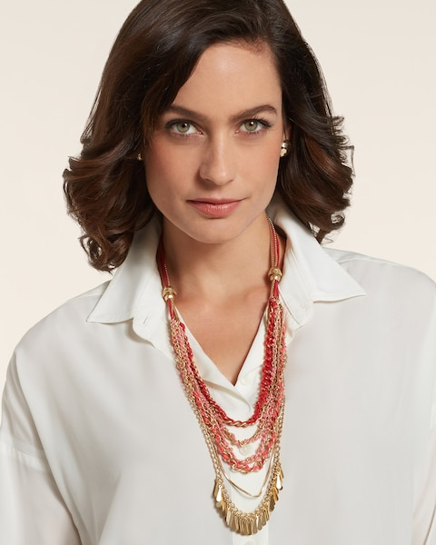 Amber Multi-Strand Chain Necklace