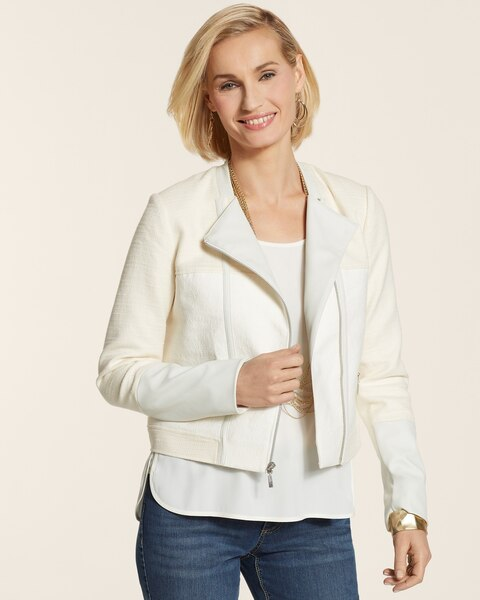 Fabric Mix Moto Jacket