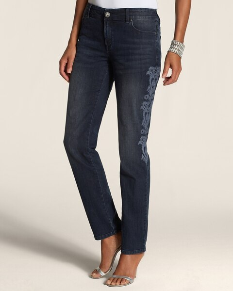 Platinum Denim Embroidered Ankle Jeans