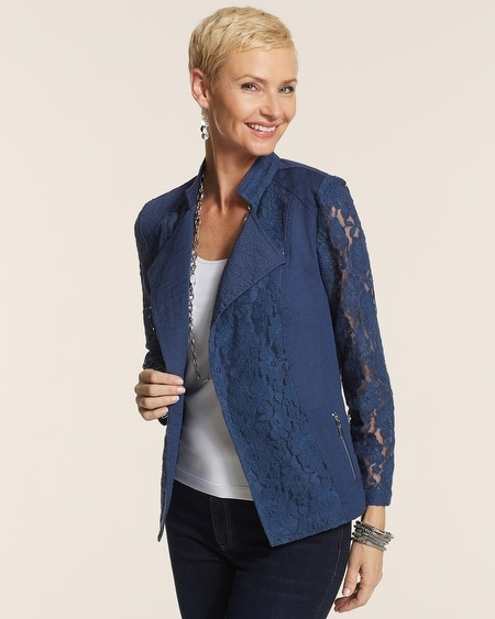 Mixed Lace Moto Jacket