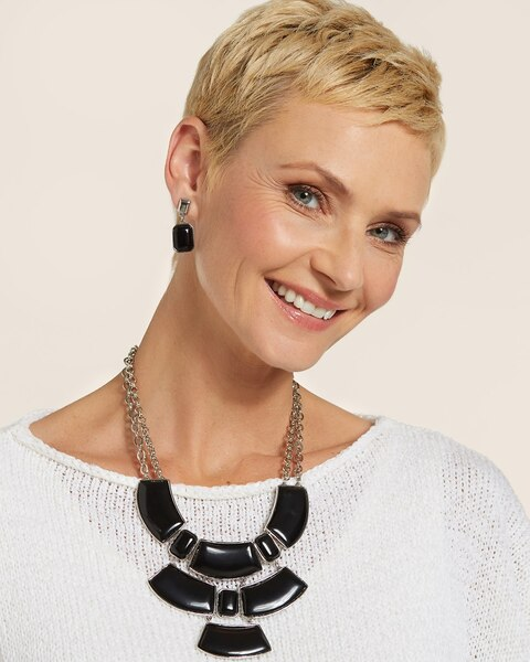 Lennox Black Bib Necklace