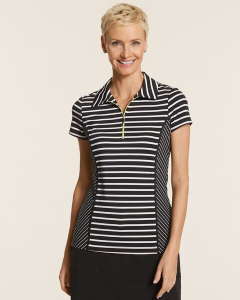Mixed Stripe Zip Polo