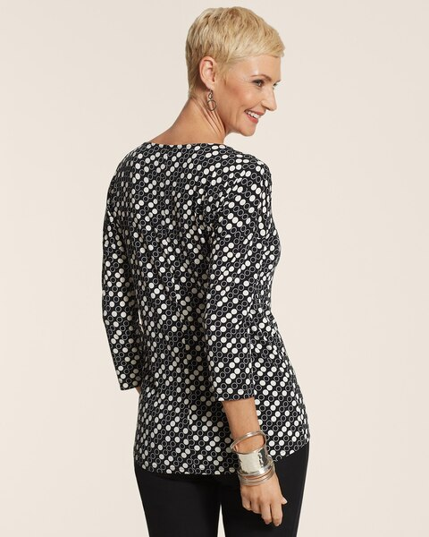 Scattered Dot Drop Shoulder Top