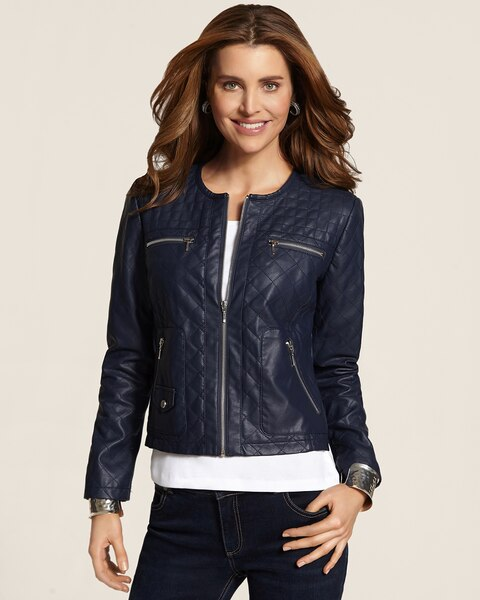 Faux-Leather Diamond Quilted Moto Jacket