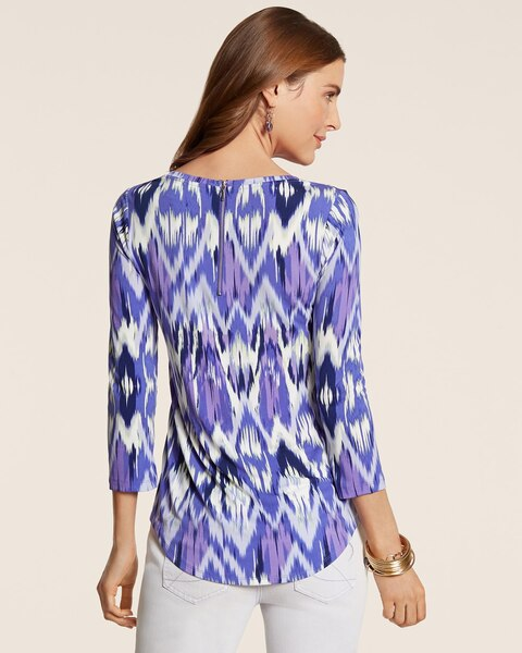 Brushed Feather Ikat Zipper Back Top