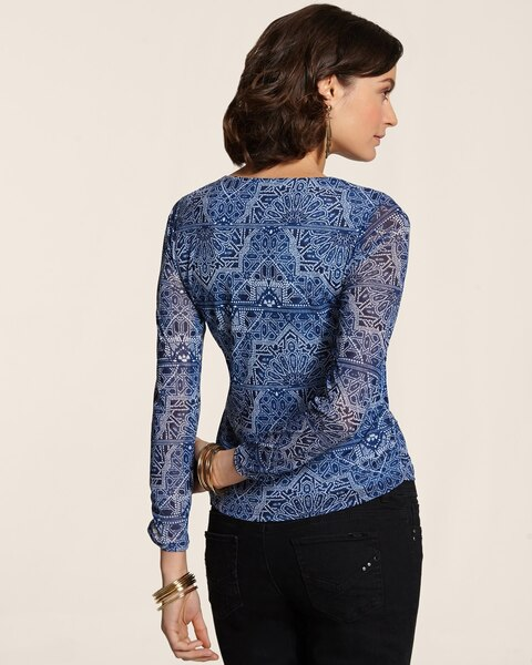 Intricate Imprint Shirred Neveah Top
